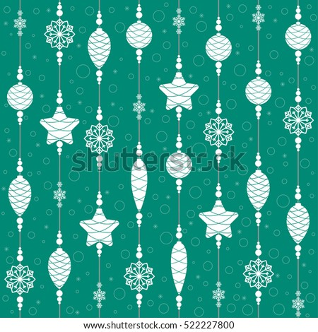 Christmas toys on threads with beads and snowflakes. Seamless background. Pattern. Vector illustration.