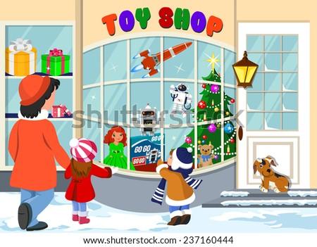 Christmas Toyshop  - stock vector