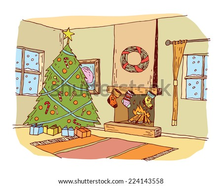 Christmas traditional decorated room, Christmas tree and fireplace. vector illustration. - stock vector