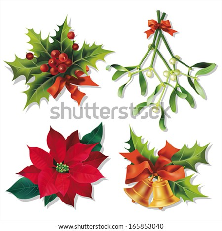 Christmas traditional symbols isolated on white. Vector eps10. - stock vector