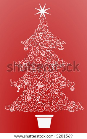 Christmas tree.  An abstract Christmas tree made up of a swirly pattern - stock vector