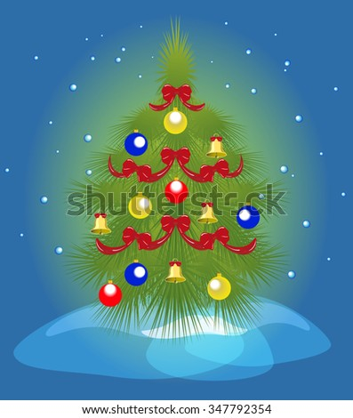 Christmas tree and a snowfall. EPS10 vector illustration. - stock vector