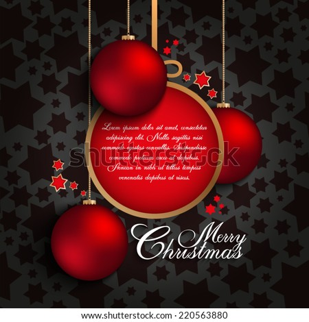 Christmas tree and baubles on red background - stock vector
