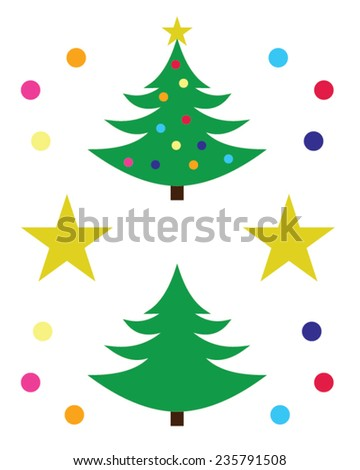 Christmas Tree and Decoration Set - Vector - stock vector