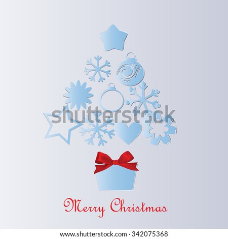 Christmas tree and gift with red bow - stock vector