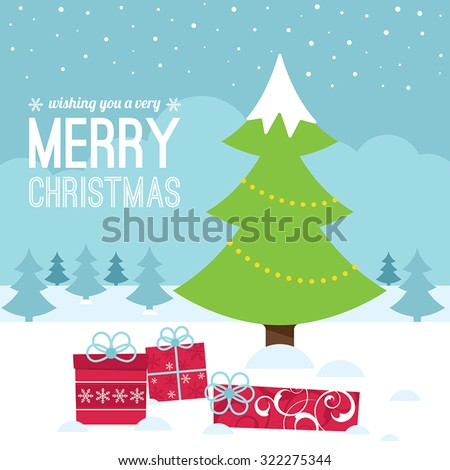 Christmas tree and gifts against a winter scene with trees - stock vector