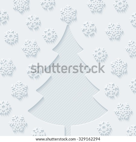Christmas tree and snowflakes. Vector EPS10. - stock vector