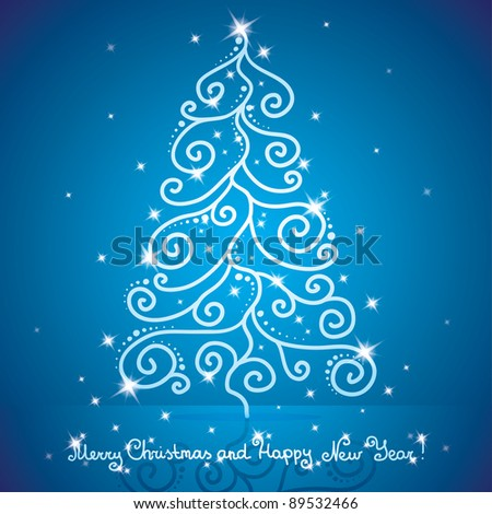 christmas tree and stars on blue background - stock vector