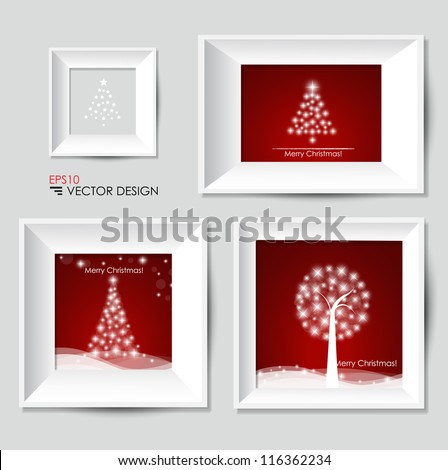 Christmas tree and White modern frames on the wall, vector illustration. - stock vector