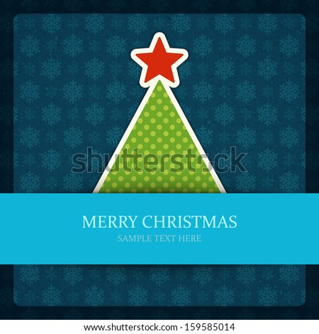 Christmas tree applique and gold bow vector background. Christmas card or invitation.