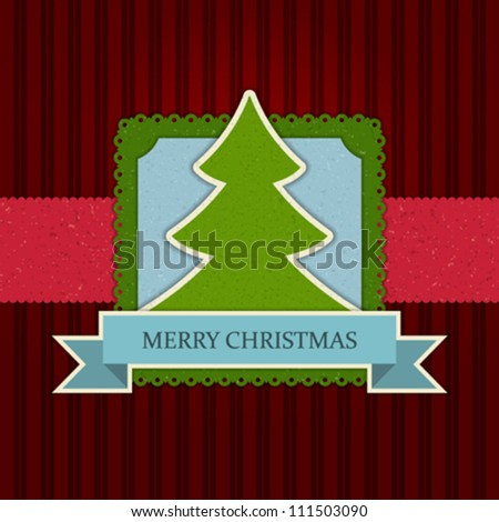 Christmas tree applique vector background