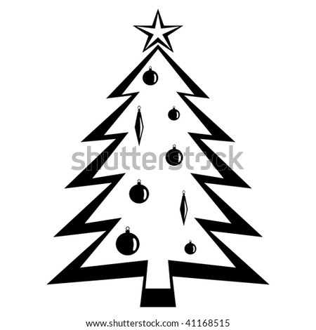 Christmas tree. Black vector Illustration. - stock vector