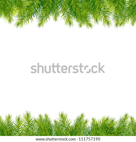 Christmas Tree Borders, Isolated On White Background, Vector Illustration - stock vector