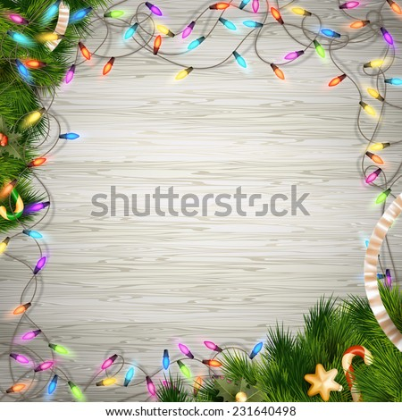 Christmas tree branch with lights on white wood background. EPS 10 vector file included - stock vector