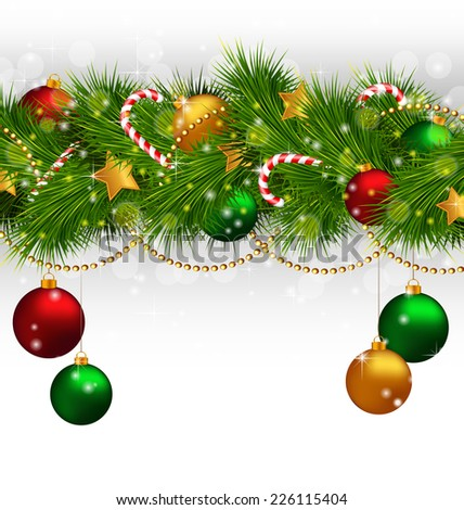 Christmas tree branches with balls, candy canes, chains and stars on grayscale background - stock vector