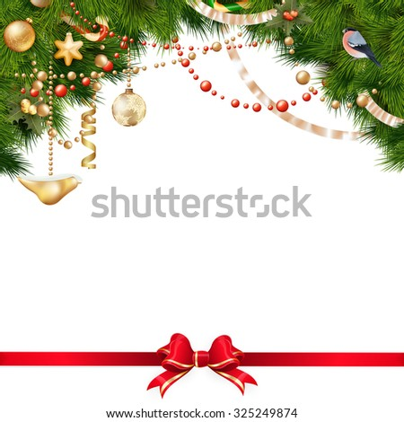 Christmas tree branches with golden baubles isolated on white. EPS 10 vector file included - stock vector