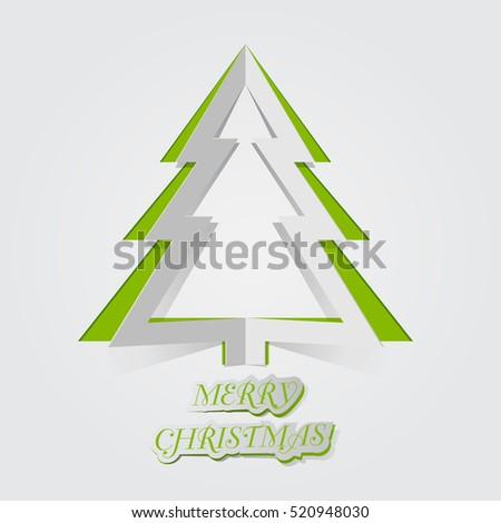 Christmas tree card background , paper cut style