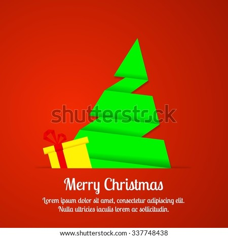 Christmas tree card, origami design - stock vector