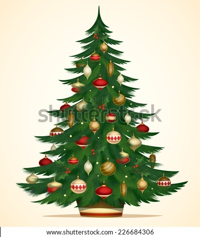 christmas tree card poster banner vector illustration - Christmas Tree Card