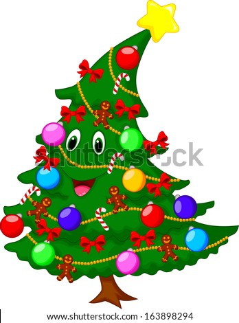 Christmas tree cartoon character - stock vector