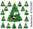 Christmas tree cartoon with star - stock vector