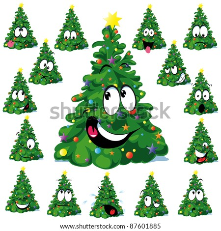 Christmas tree cartoon with star - stock vector