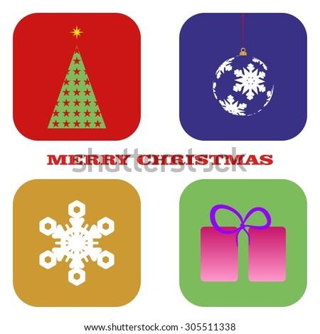 Christmas tree, Christmas ball, Christmas present and snowflakes on christmas card - stock vector