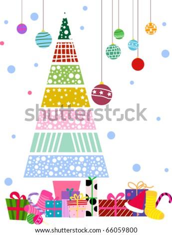 christmas tree,christmas ball,sock,gift box - stock vector