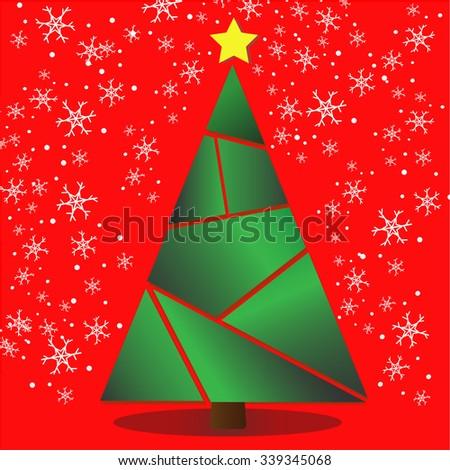 Christmas tree ,Christmas card. - stock vector