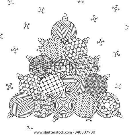 Christmas tree. Christmas hand drawn decorative elements in vector. Pattern for coloring book. Christmas balls. Black and white pattern. Can be used for web page background, postcard, card, poster. - stock vector
