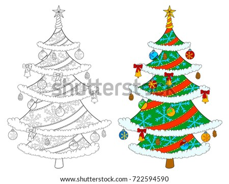 Christmas Tree Coloring Book Isolated On Stock Vector (Royalty Free ...