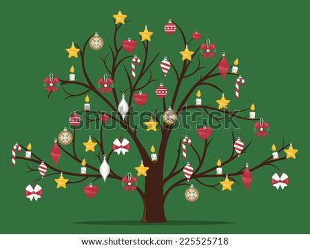 Christmas tree decorated vector cartoon illustration - stock vector