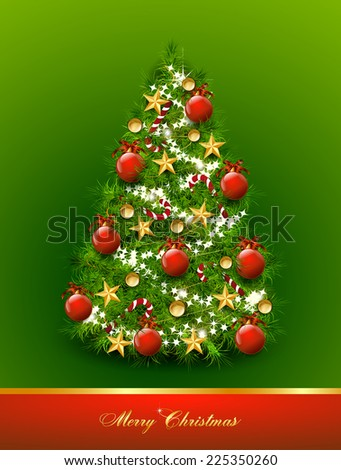 Christmas tree decorated with balls and stars on green background. Vector - stock vector