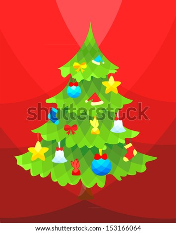 Christmas tree decorated with balls, bells, stars, candy and bows - stock vector