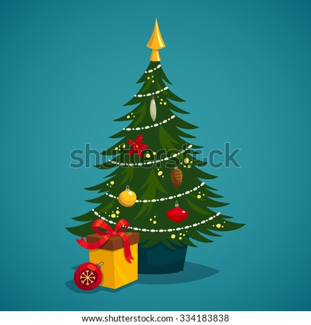 Christmas tree decorated with toys and present - stock vector