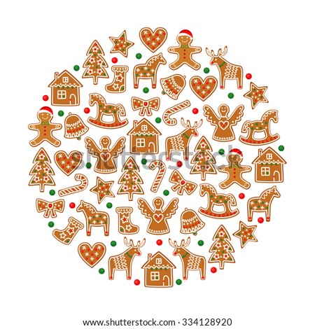 Christmas tree decoration. Xmas cookies collection - gingerbread cookies figures on white background - Xmas tree, candy cane, angel, bell, stocking, gingerbread men, star, heart, deer, rocking horse. - stock vector