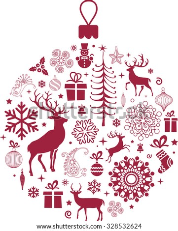 Christmas tree decorations - stock vector