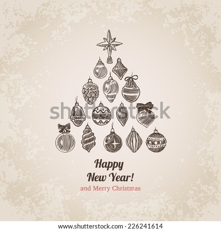 Christmas tree decorations set New Year handdrawn engraving style postcard template. Pen pencil crosshatch hatching paper drawing retro vintage vector lineart illustration. - stock vector
