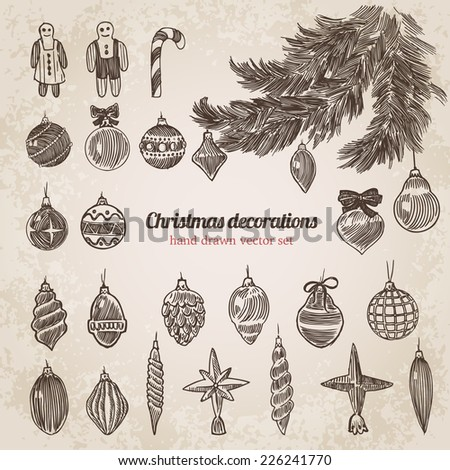 Christmas tree decorations set New Year handdrawn engraving style template. Pen pencil crosshatch hatching paper drawing retro vintage vector lineart illustration. - stock vector