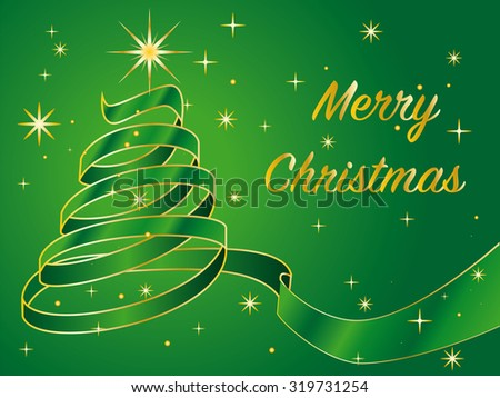 christmas tree designed with curly green and golden ribbon on green background with golden stars - stock vector