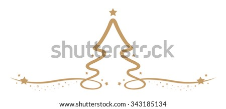 christmas tree drawing line gold stars - stock vector