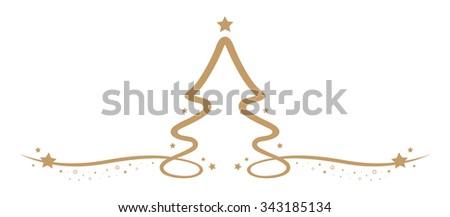 christmas tree drawing line gold stars - stock vector