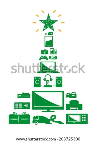 Christmas Tree Electronics Vector. Isolated on white - stock vector