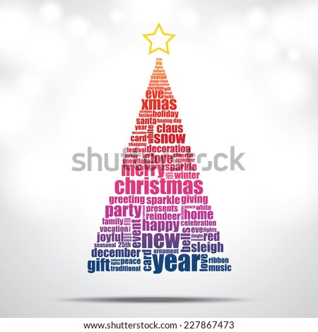 Christmas tree filled by Christmas and happy new year word cloud