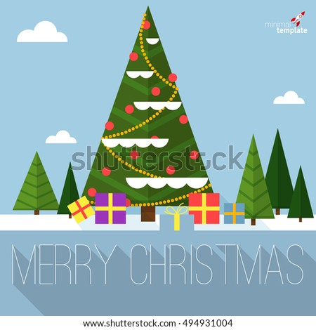Christmas tree flat design greeting card vector template.