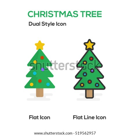 Christmas Tree Flat Icon And Flat Line Icon.