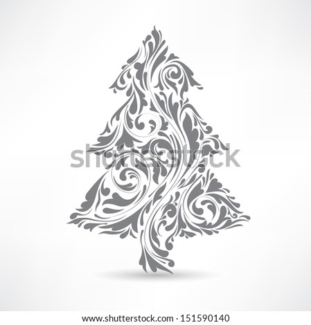 Christmas tree. Floral motif. Design element. - stock vector