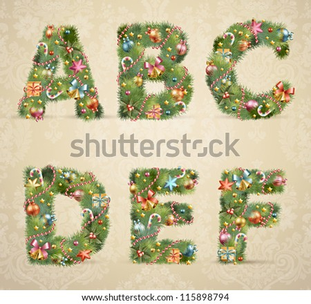 Christmas tree font with baubles - vintage style. Vector illustration. - stock vector