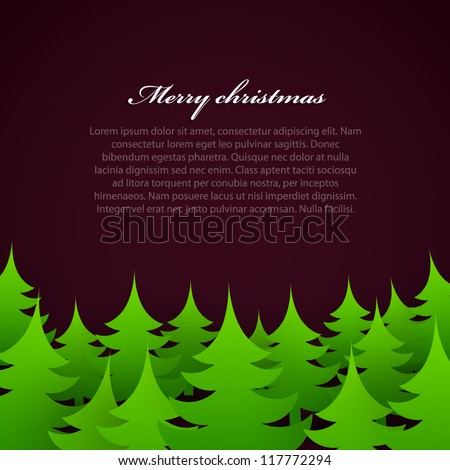 christmas tree forest background. - stock vector