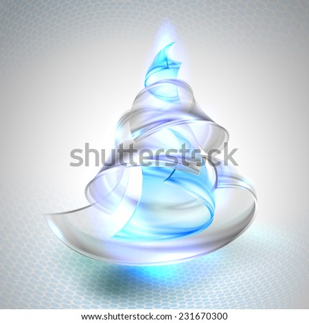 Christmas tree from glass. Vector illustration. - stock vector